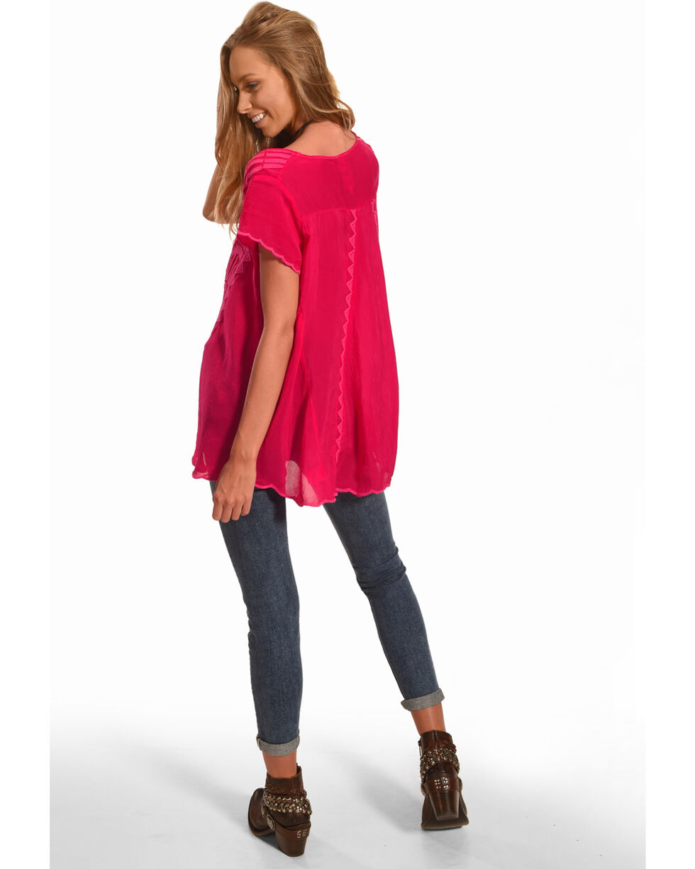 Johnny Was Women's Lamonay Short Sleeve Top, Bright Pink, hi-res