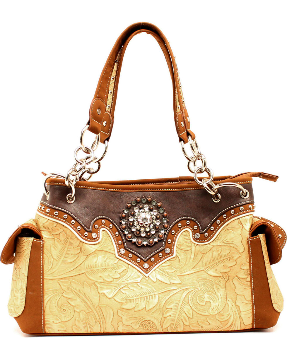Blazin Roxx Tan and Brown Embossed Satchel, Tan, hi-res