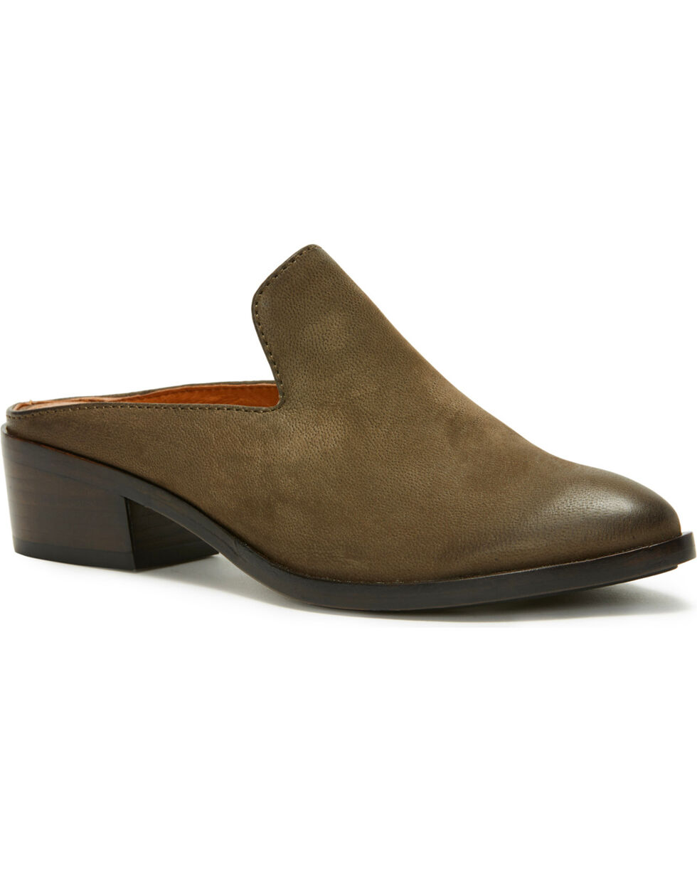 Frye Women's Brown Ray Mule Slip-Ons , Grey, hi-res