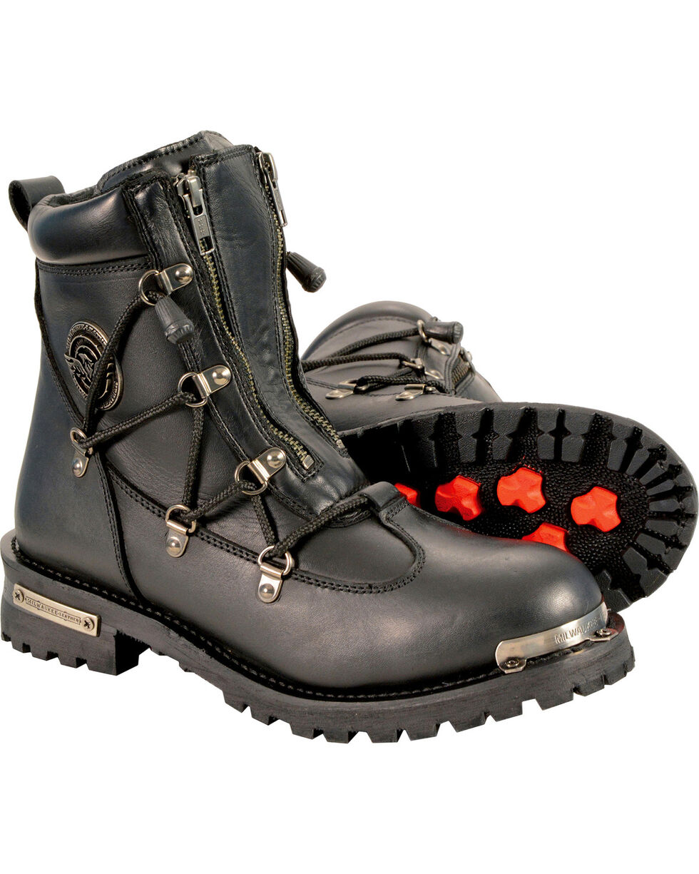 Milwaukee Leather Women's Twin Zipper Boots - Round Toe, Black, hi-res