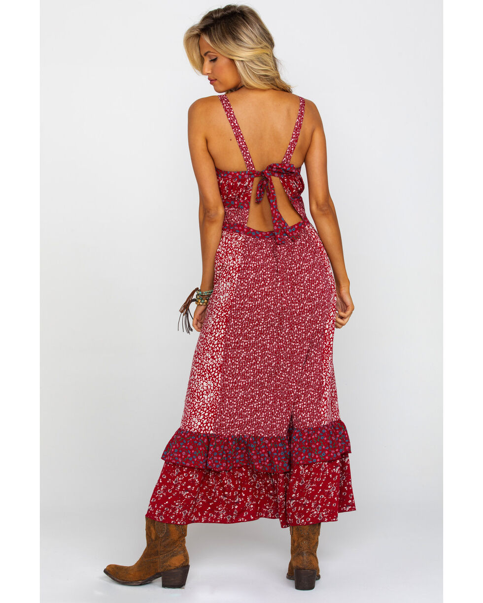 Free People Women's Yesica Maxi Dress, Red, hi-res