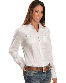 Wrangler White Rhinestone Snap Western Shirt, White, hi-res