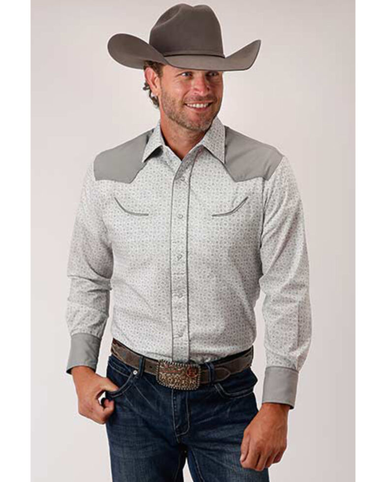 Roper Men's White Floral Print Retro Fancy Yoke Long Sleeve Snap Western Shirt , White, hi-res