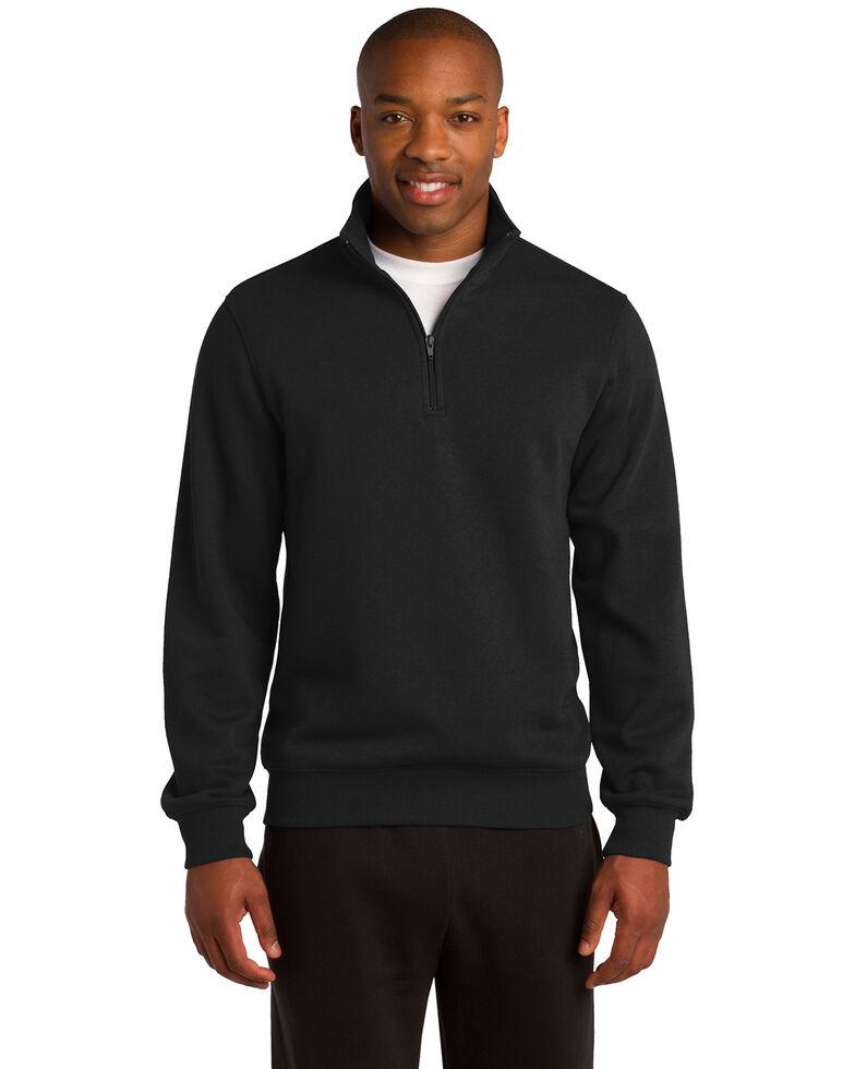 Sport Tek Men's 1/4 Zip Pullover Sweatshirt - Tall , Black, hi-res