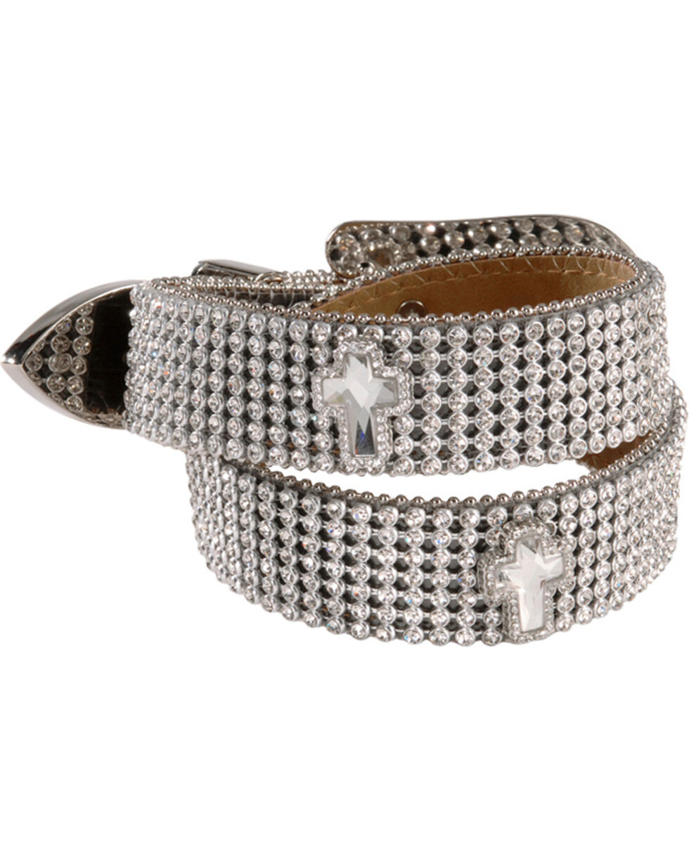 Nocona Belt Co Girl's Rhinestone and Cross Belt, Silver, hi-res