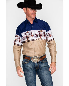 Ely Cattleman Men's Border Print Long Sleeve Western Shirt , Navy, hi-res