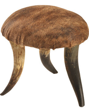 Shawnee Trading Post Longhorn Hair On Foot Stool, Multi, hi-res
