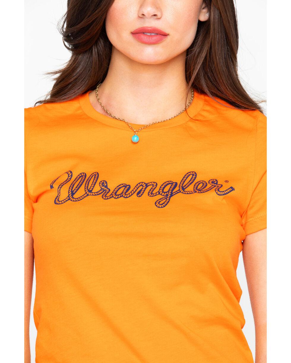 Wrangler Women's Orange Rope Logo Tee, Bright Orange, hi-res