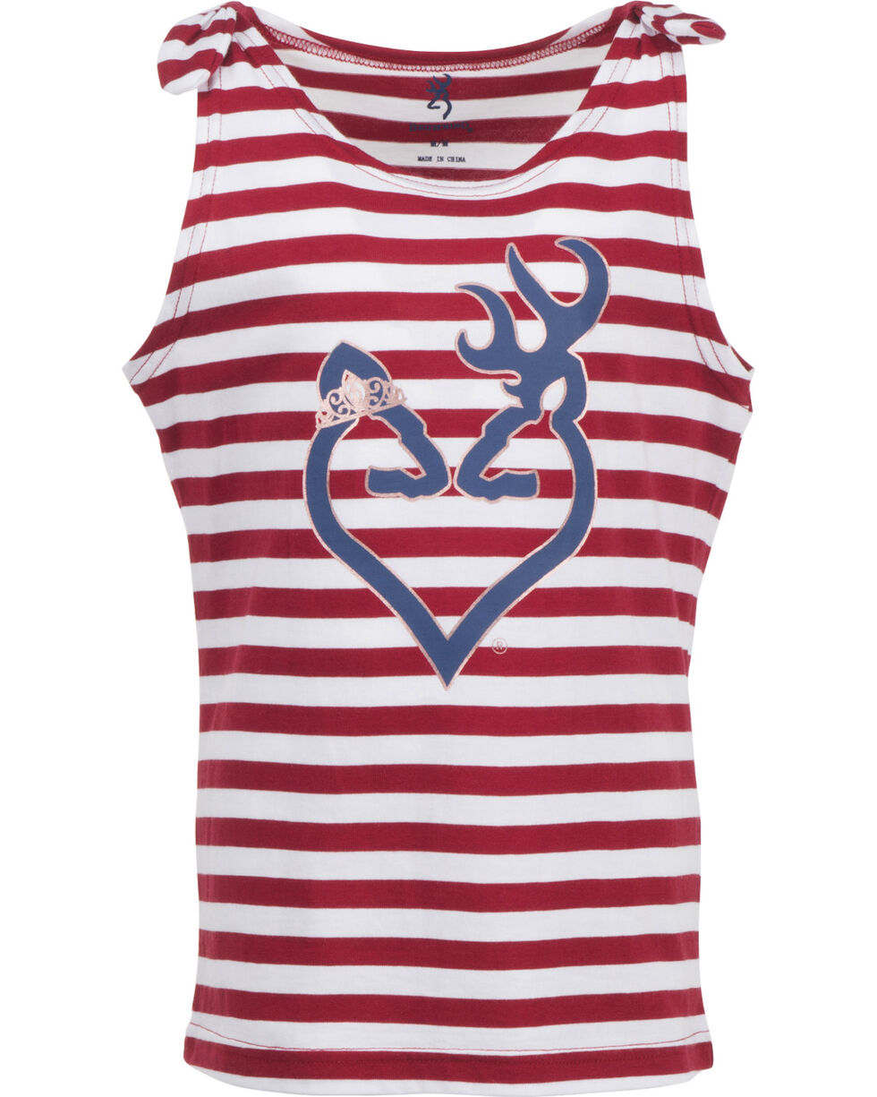 Browning Girls' Starlight Tank Top , Red, hi-res