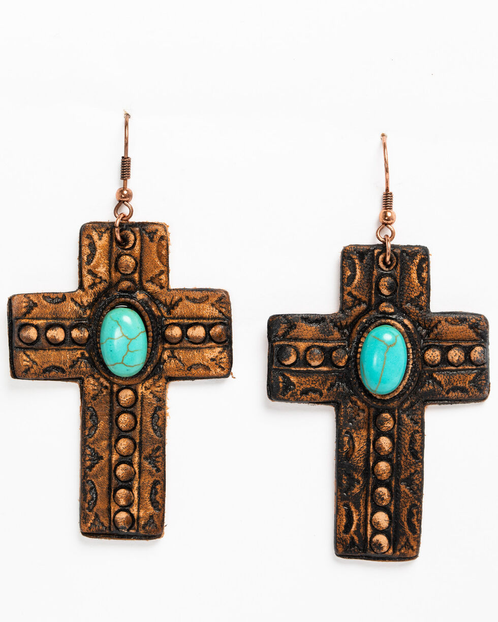 Shyanne Women's Copper Cross Earrings, Tan/copper, hi-res