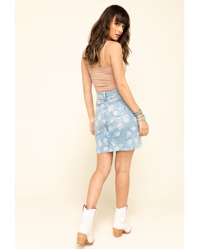 Billy T Women's Blue Botanical Garden Skirt, Blue, hi-res