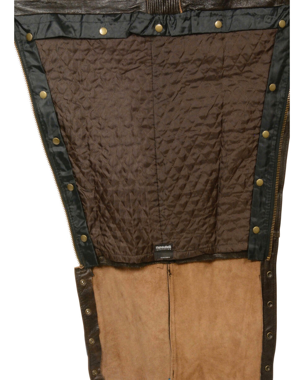 Milwaukee Leather Men's Retro Brown Four Pocket Thermal Lined Chaps - 4X, Brown, hi-res
