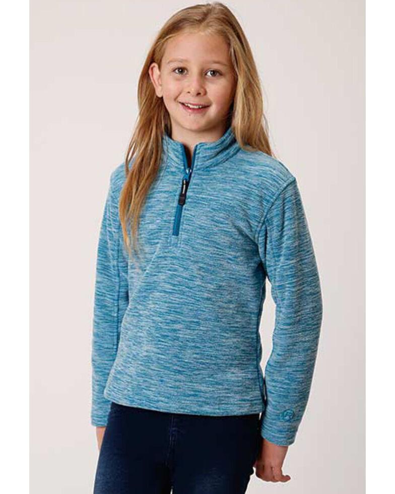 Roper Girls' Teal Micro Fleece Pullover, Teal, hi-res