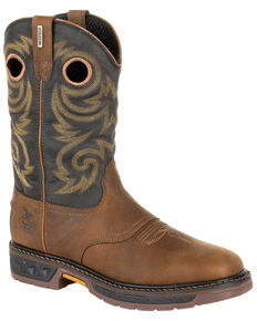 Georgia Boot Men's Carbo-Tec LT Waterproof Western Work Boots - Soft Toe, Black/brown, hi-res