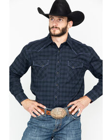 Panhandle Men's Black Snap Long Sleeve Western Shirt, Black, hi-res