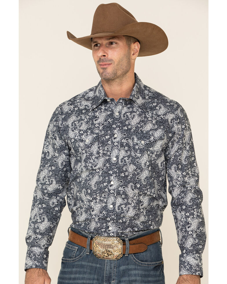 Rock & Roll Cowboy Men's Navy Paisley Print Long Sleeve Western Shirt , Navy, hi-res