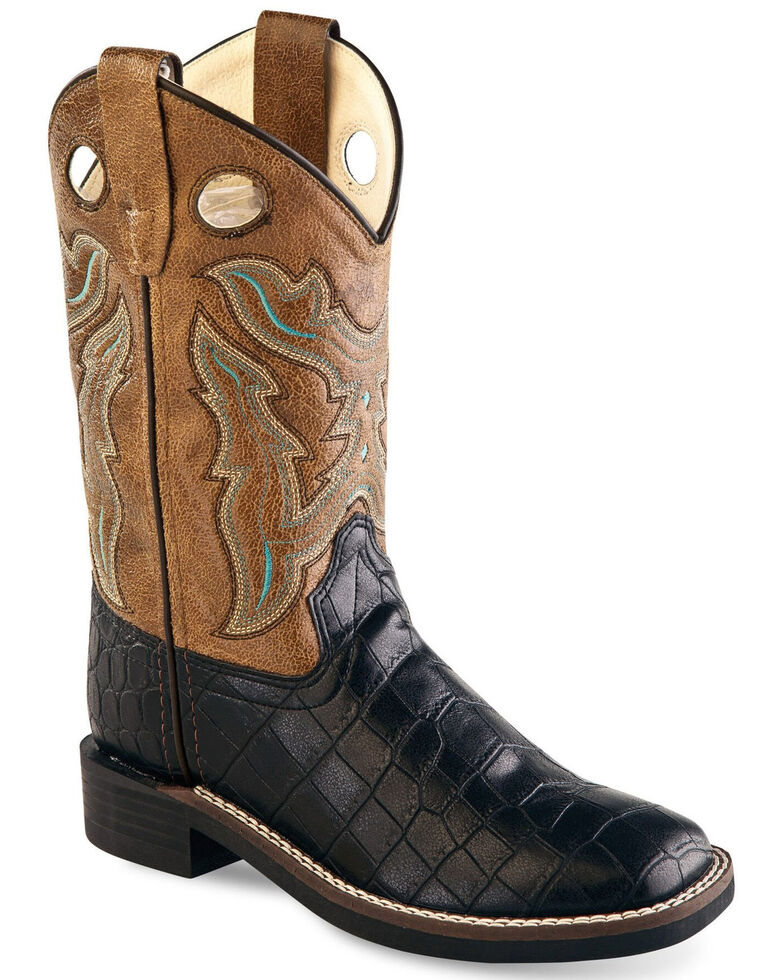 Old West Boys' Faux Exotic Pull Western Boots - Wide Square, Multi, hi-res