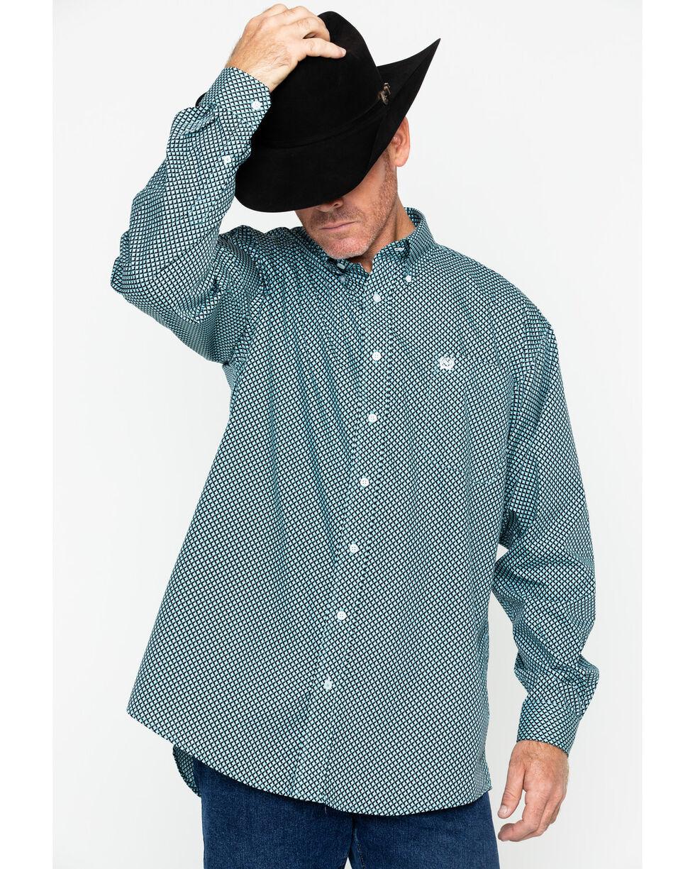 Cinch Men's Geo Print Plain Weave Button Shirt , Blue, hi-res