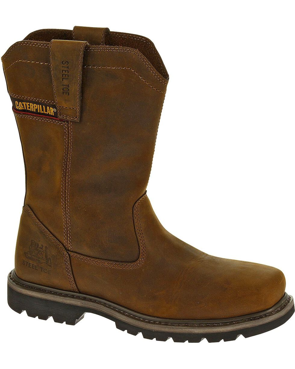 CAT Men's Wellston Steel Toe Work Boots, Dark Brown, hi-res