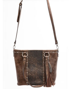 Shyanne Women's Maisie Metallic Tooled Feather Charm Tote Handbag , Coffee, hi-res