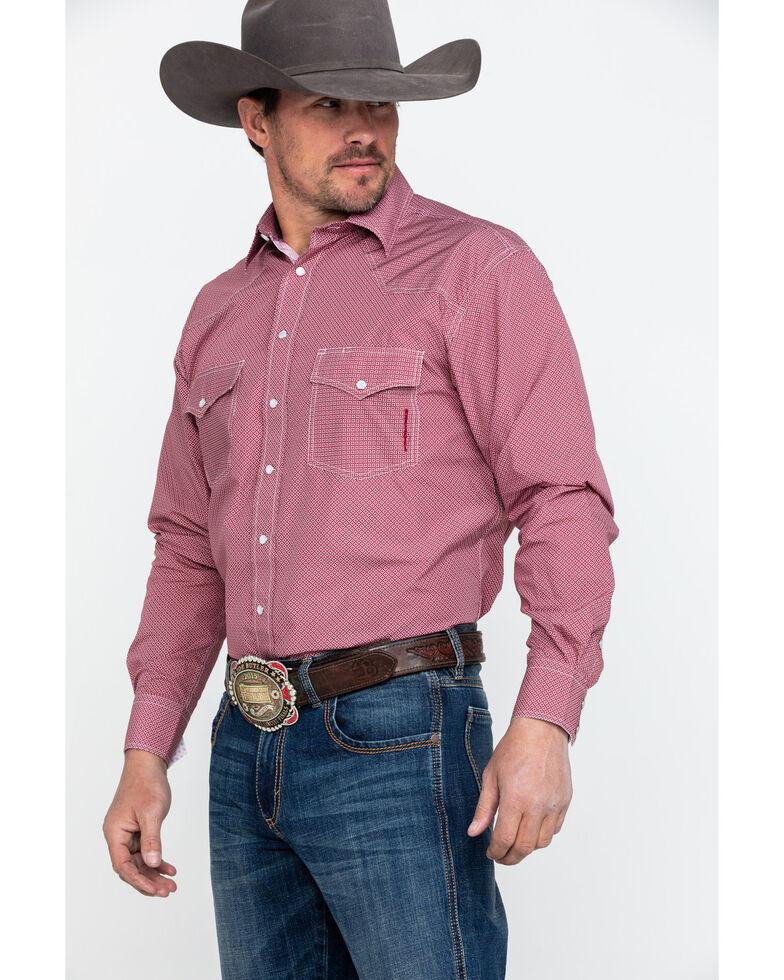 Resistol Men's Dales Geo Print Long Sleeve Western Shirt , Red, hi-res