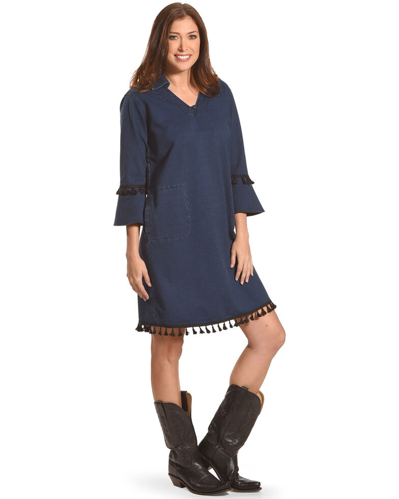 Tractr Women's Tassel Trim V-Neck Dress, Indigo, hi-res