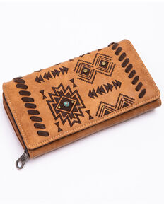 Shyanne Women's Harper Aztec Print Faux Leather Wallet , Brown, hi-res