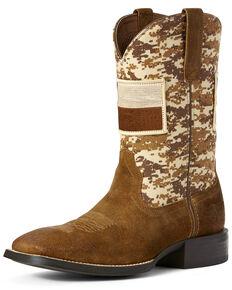Ariat Men's Sport Patriot Texas Flag Western Boots - Wide Square Toe, Brown, hi-res