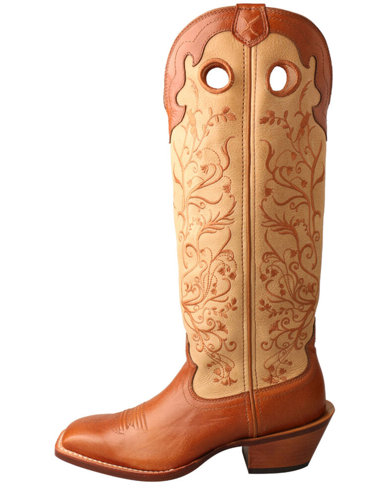 Twisted X Women's Buckaroo Western Boots - Wide Square Toe, Brown, hi-res