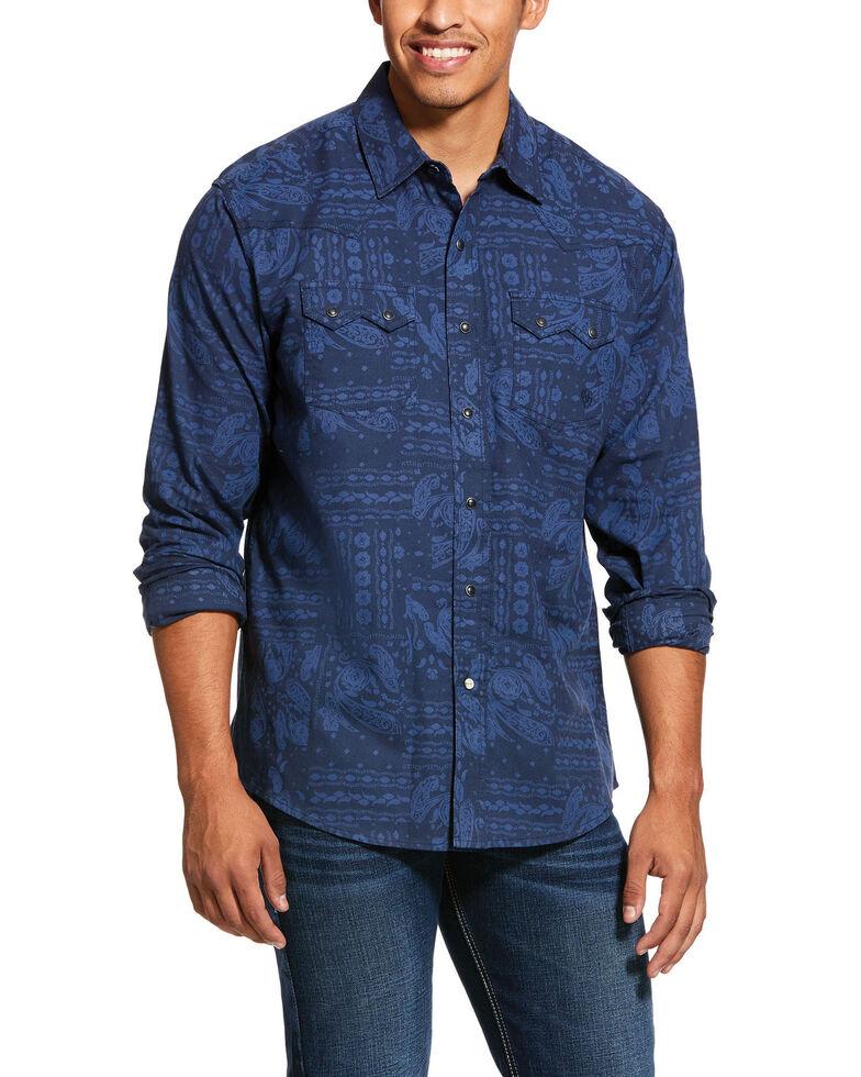 Ariat Men's Jericho Retro Paisley Print Long Sleeve Western Shirt , Blue, hi-res