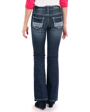Rock & Roll Cowgirl Girls' Dark Vintage Aztec Embroidered Rhinestone Jeans - Boot Cut, Indigo, hi-res