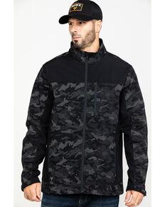 Hawx® Men's Grey Camo Printed Reflective Soft Shell Work Jacket , Black, hi-res