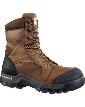 "Carhartt Men's 8"" Dark Brown Waterproof Insulated Rugged Flex Work Boots - Round Toe, Dark Brown, hi-res"