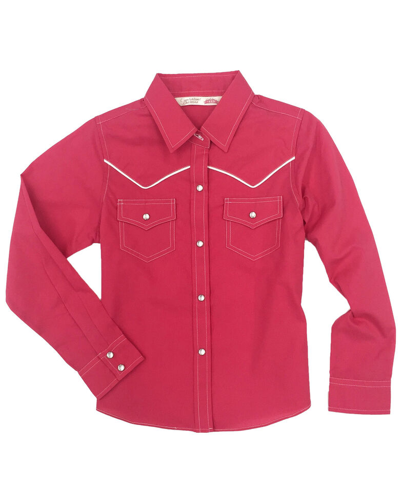 Cumberland Outfitters Girls' Pink Snap Long Sleeve Western Shirt, Pink, hi-res