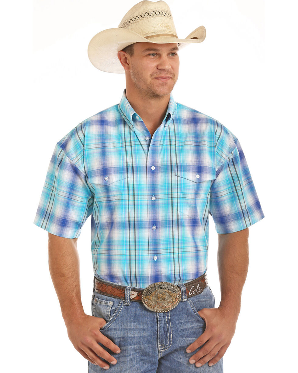 Panhandle Men's Blue Ombre Plaid Western Shirt , Blue, hi-res