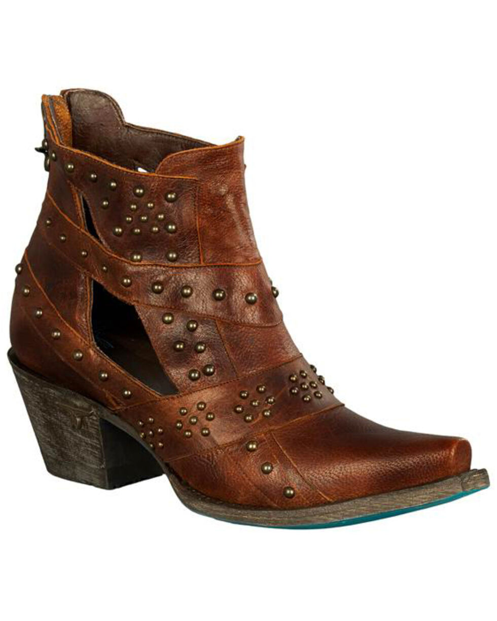 Lane Women's Brown Studs & Straps Fashion Booties - Snip Toe , Brown, hi-res