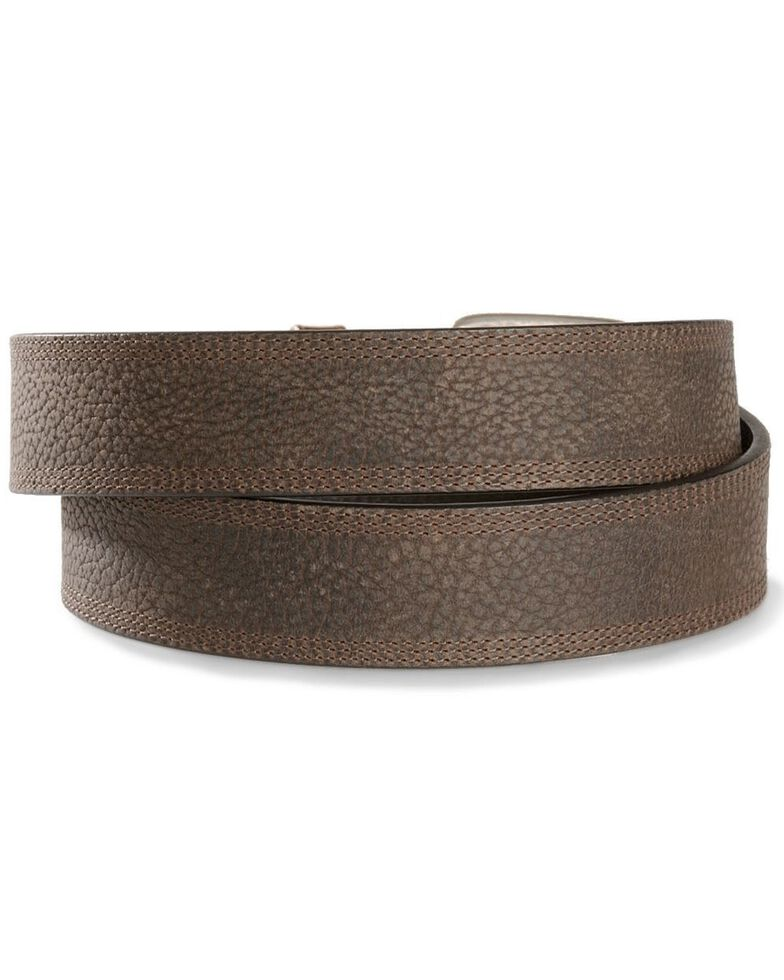 Ariat Men's Triple Row Stitch Leather Belt, Brown, hi-res