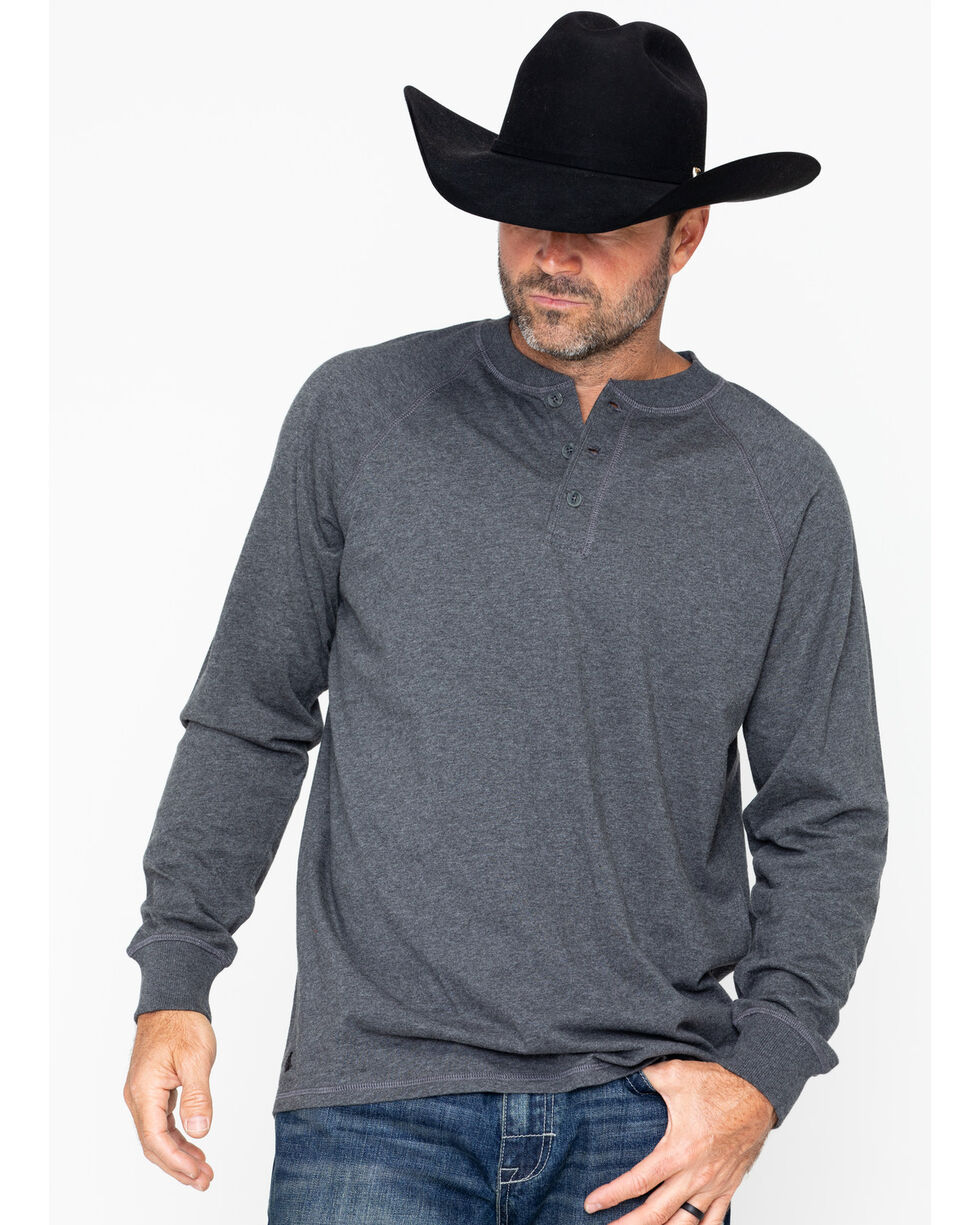 Cody James Men's Henley Knit Long Sleeve Shirt, Charcoal, hi-res