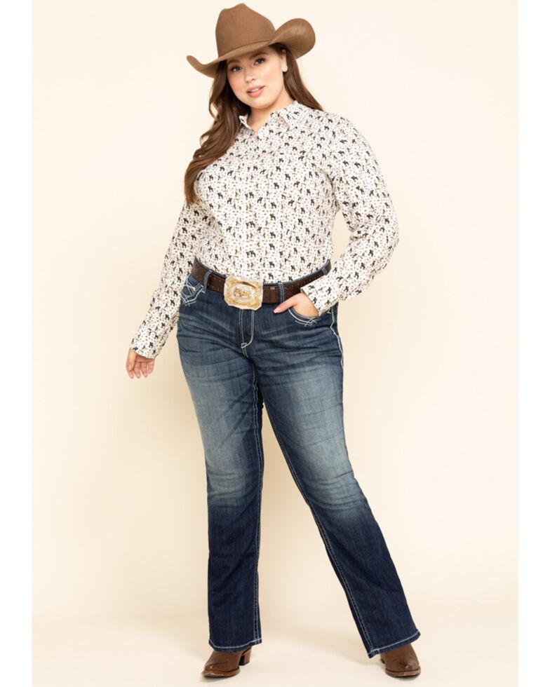 Ariat Women's Kirby Pasture Print Stretch Long Sleeve Shirt - Plus, White, hi-res