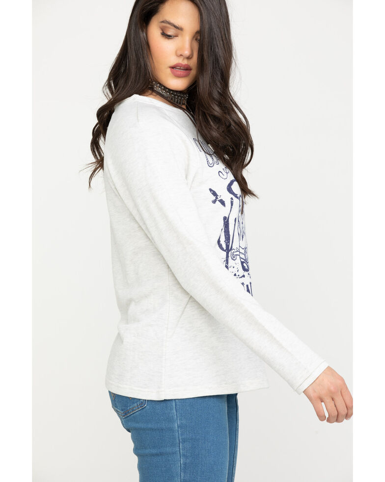Wrangler Women's Oatmeal Cowgirl Graphic Long Sleeve Top, Natural, hi-res
