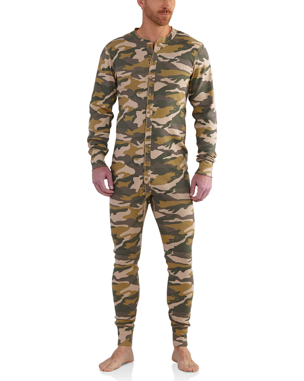 Carhartt Men's Camo Midweight Cotton Union Suit , Camouflage, hi-res