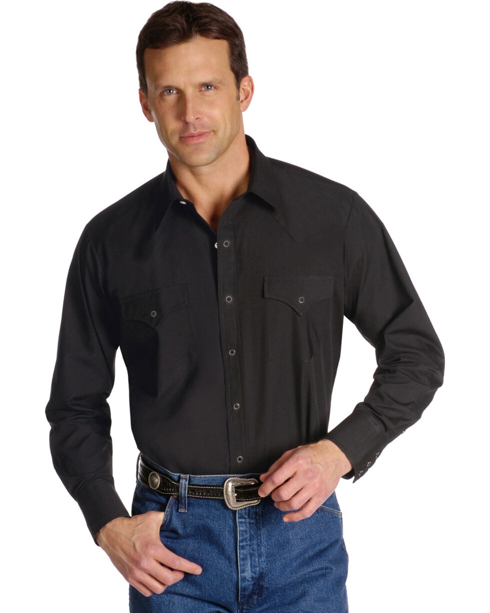 Ely Cattleman Men's Long Sleeve Solid Western Shirt - Big & Tall, Black, hi-res