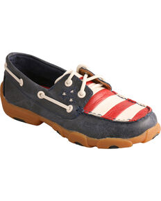Twisted X Kid's VFW Red White & Blue Moc Toe Driving Shoes, Blue Dust, hi-res