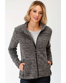 Roper Women's Black Micro Fleece Jacket, Black, hi-res