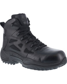 "Reebok Men's Stealth 6"" Lace-Up Side Zip Work Boots - Composite Toe, Black, hi-res"