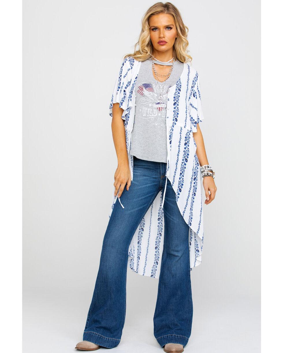 Wrangler Women's Floral Stripe Button Duster, Ivory, hi-res
