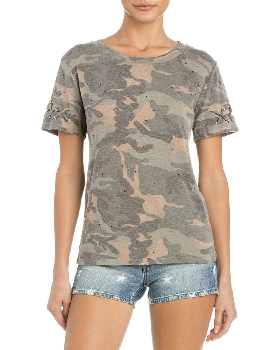 Miss Me Women's At Ease Distressed Tee, Camouflage, hi-res