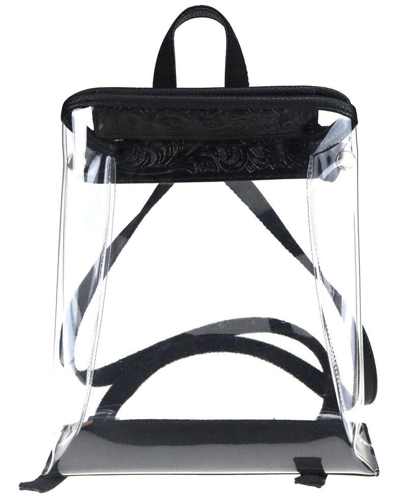 Montana West Women's Savannah Clear Tooled Backpack, Black, hi-res