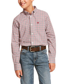 Ariat Boys' Dagley Stretch Plaid Long Sleeve Western Shirt , White, hi-res