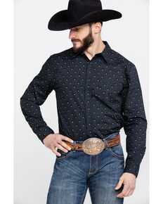 Gibson Men's Sirius Star Geo Print Long Sleeve Western Shirt , Navy, hi-res